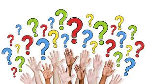 Hands raised with colorful question marks